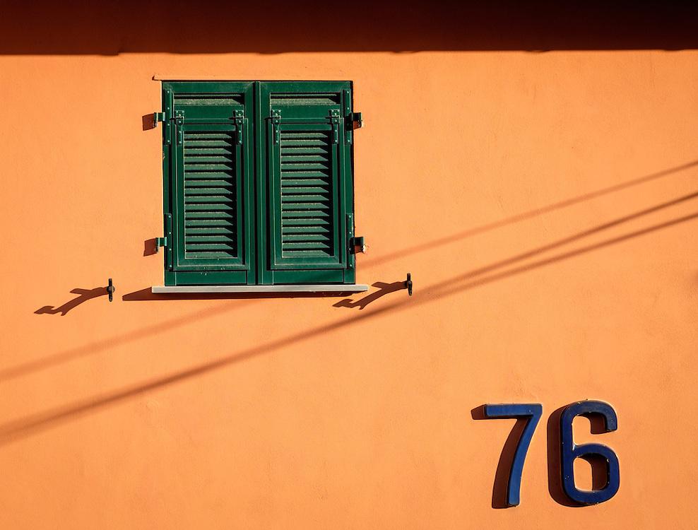 MANAROLA, ITALY - CIRCA MAY 2015:  Window in the village of Manarola in Cinque Terre, Italy.
