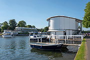 "Henley on Thames, United Kingdom, 29th June 2018, Friday, ""Henley Royal Regatta"", Qualifying races, [Time Trails] Official, Regatta, Launches, moored by the ""Floating Grandstand"" with the Phyllis Court Club, Glazed Stand in the Background, Henley Reach, River Thames, Thames Valley, England, © Peter SPURRIER, 29/06/2018"