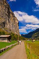 Walking path, Lauterbrunnen Valley, Canton Bern, Switzerland