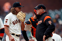 SAN FRANCISCO, CA - MAY 26: Curt Young #43 of the San Francisco Giants talks to Shaun Anderson #64 during a mound visit during the fourth inning against the Arizona Diamondbacks at Oracle Park on May 26, 2019 in San Francisco, California. The Arizona Diamondbacks defeated the San Francisco Giants 6-2. (Photo by Jason O. Watson/Getty Images) *** Local Caption *** Curt Young; Shaun Anderson