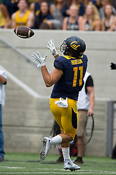 BERKELEY, CA - SEPTEMBER 12:  Tight end Raymond Hudson #11 of the California Golden Bears catches a pass against the San Diego State Aztecs during the second quarter at California Memorial Stadium on September 12, 2015 in Berkeley, California. The California Golden Bears defeated the San Diego State Aztecs 35-7. (Photo by Jason O. Watson/Getty Images) *** Local Caption *** Raymond Hudson