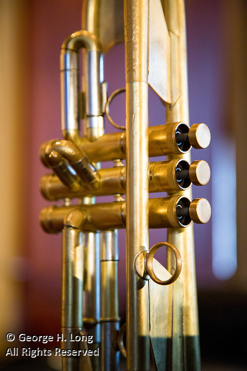 golden trumpet waiting to be played by Big Sam's Funky Nation