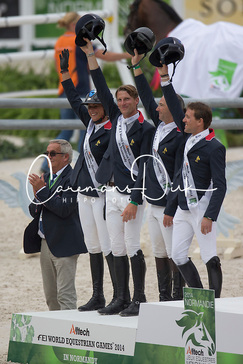 Team FRA, Patrice Delaveau, Penelope Leprevost, Kevin Staut, Simon Delestre - Jumping Second Round Team Competition - Alltech FEI World Equestrian Games™ 2014 - Normandy, France.<br /> © Hippo Foto Team - Dirk Caremans<br /> 04/09/14