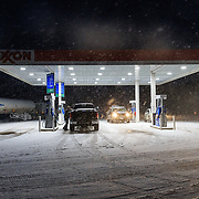 Getting gas after a day of powder skiing in the Teton backcountry.