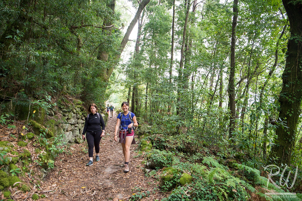 Female Hikers on Spain's Coastal Way Trail / Camino de Santiago, A Guarda, Spain