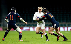Danielle Waterman of England takes on Caroline Ladagnous of France Women - Mandatory by-line: Robbie Stephenson/JMP - 04/02/2017 - RUGBY - Twickenham - London, England - England v France - Women's Six Nations
