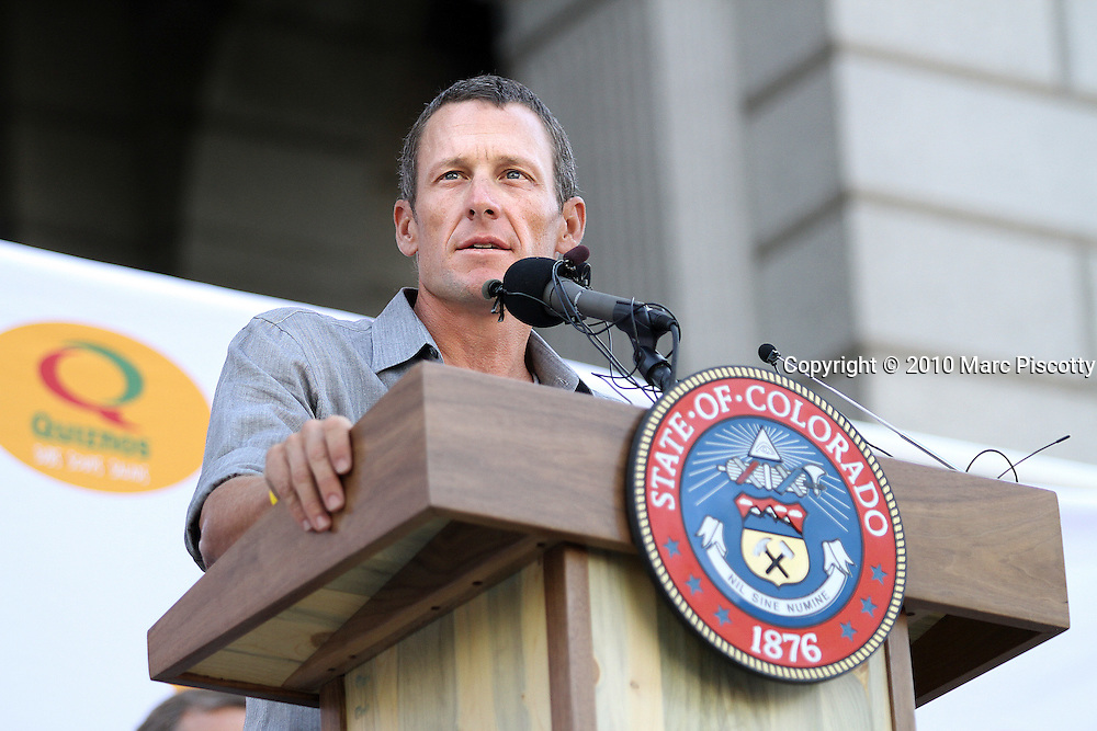 SHOT 8/4/10 10:09:11 AM - Former Tour de France champion Lance Armstrong and Colorado Governor Bill Ritter (not pictured) officially announced plans today for an elite international cycling race to take place in Colorado in 2011 at a press conference on the steps of the state Capitol. The Quiznos Pro Challenge will be the first pro-cycling event in the state since the Coors Classic, which ran from 1979-1988. The Challenge will be held Aug. 22-28, 2011. It will feature a mix of mountain, sprint and downtown stages, and is expected to draw the top cycling teams from around the world. After the press conference Armstrong and Ritter joined an estimated 2,000 cyclists that had attended on a bike ride to Washington Park. (Photo by Marc Piscotty / © 2010)