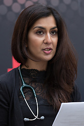 © Licensed to London News Pictures. 21/01/2016. London, UK. Dr Nadia Masood reads a letter to Jeremy Hunt at the Department of Health calling for him to stop using misleading statistics for political gain. Photo credit : Vickie Flores/LNP