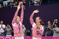 Sorokina and Vislova, Russia, Win Bronze Medal at Womens Doubles, Olympic Badminton London Wembley 2012