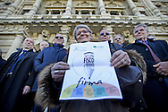 Rome 23th feb 2015, in the picture leader of CISL union, Mrs Annamaria Furlan, presents a bill for tax relief