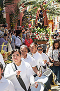 Christian believers in a procession through the city center during Palm Sunday marking the start of Holy Week March 25, 2018 in San Miguel de Allende, Mexico. Christians commemorate the entry of Jesus into Jerusalem when it was believed that the citizens laid down palm branches in his path.
