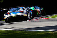 TF Sport Aston Martin Vantage GT3 with drivers Mark Farmer & Jon Barnes follows Barwell Motorsport Lamborghini Huracan GT3 with drivers Jon Minshaw & Phil Keen during the British GT Championship Round 9 at  Brands Hatch England on 6 August 2017. Photo by Jurek Biegus.