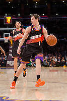 12 February 2013: Guard (1) Goran Dragic of the Phoenix Suns dribbles the ball against the Los Angeles Lakers during the first half of the Lakers 91-85 victory over the Suns at the STAPLES Center in Los Angeles, CA.