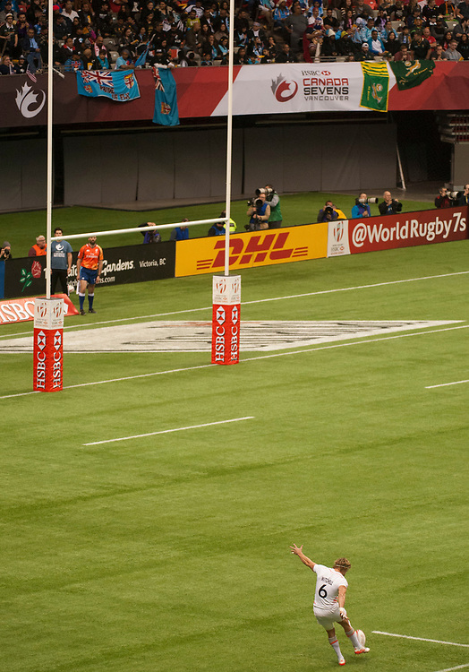 Tom Mitchell kicks an England conversation against New Zealand during the quarter final of the Canada Sevens,  Round Six of the World Rugby HSBC Sevens Series in Vancouver, British Columbia, Sunday March 12, 2017. <br /> <br /> Jack Megaw.<br /> <br /> www.jackmegaw.com<br /> <br /> jack@jackmegaw.com<br /> @jackmegawphoto<br /> [US] +1 610.764.3094<br /> [UK] +44 07481 764811