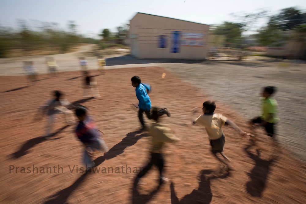 Children suffering from HIV play Kabbhaddi in an orphanage in Ahmednagar Maharashtra. Photographer: Prashanth Vishwanathan