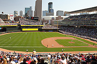 Players celebrate a win in the first weekend day game in the brand new Minnesota Twins stadium, Target Field, Minneapolis, Minnesota.