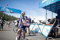 Megan Guarnier (USA) of Boels-Dolmans Cycling Team checks her race radio before the first, 117 km road race stage of the Amgen Tour of California - a stage race in California, United States on May 19, 2016 in South Lake Tahoe, CA.