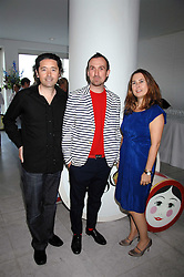 Left to right, BRYAN MEEHN of Nude, photographer TIM WALKER and editor of Vogue ALEXANDRA SHULMAN at a reception hosted by Vogue magazine to launch photographer Tim Walker's book 'Pictures' sponsored by Nude, held at The Design Museum, Shad Thames, London SE1 on 8th May 2008.<br />