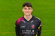 Head shot.  Tom Banton wearing the Somerset Vitality Blast kit at the media day at Somerset County Cricket Club at the Cooper Associates County Ground, Taunton, United Kingdom on 11 April 2018. Picture by Graham Hunt.