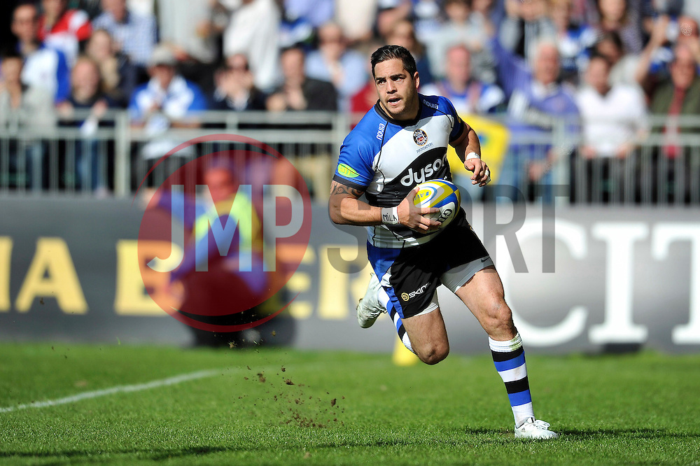 Horacio Agulla of Bath Rugby runs in a try - Photo mandatory by-line: Patrick Khachfe/JMP - Mobile: 07966 386802 16/05/2015 - SPORT - RUGBY UNION - Bath - The Recreation Ground - Bath Rugby v Gloucester Rugby - Aviva Premiership
