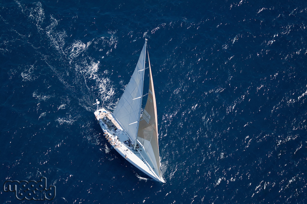Sailboat on Ocean elevated view