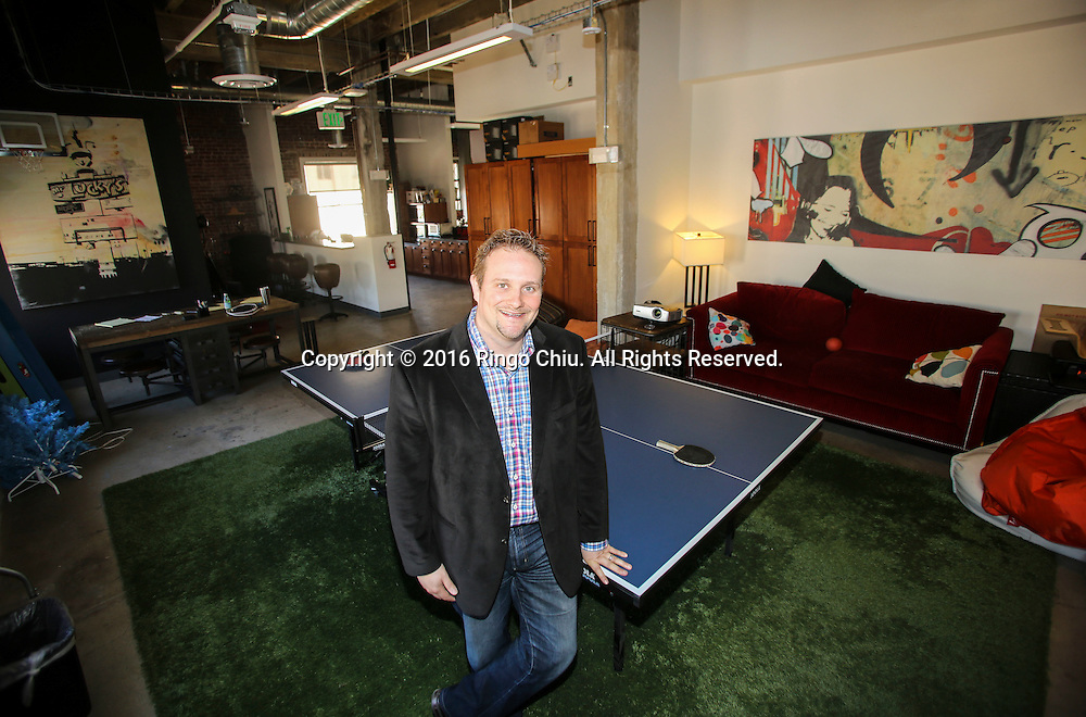 Thomas Swalla, CEO of Study Mode,  in his office at the Taft Building in Hollywood.<br /> (Photo by Ringo Chiu/PHOTOFORMULA.com)<br /> <br /> Usage Notes: This content is intended for editorial use only. For other uses, additional clearances may be required.