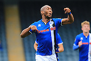 GOAL Calvin Andrew celebrates scoring 2-0 during the EFL Sky Bet League 1 match between Rochdale and Southend Unitedat Spotland, Rochdale, England on 8 October 2016. Photo by Daniel Youngs.