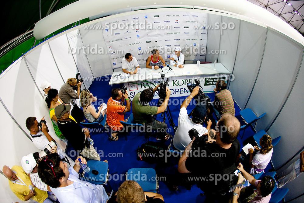 Winner Polona Hercog and Katarina Srebotnik of Slovenia at press conference after the 2nd Round of Singles at Banka Koper Slovenia Open WTA Tour tennis tournament, on July 21, 2010 in Portoroz / Portorose, Slovenia. (Photo by Vid Ponikvar / Sportida)