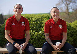 CARDIFF, WALES - Monday, April 1, 2019: Wales' Hayley Ladd (L) and Natasha Harding during a media session at the Vale Resort ahead of a friendly against the Czech Republic. (Pic by David Rawcliffe/Propaganda)