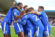 Gillingham midfielder Billy Knott (11)  celebrates (2-1) with the team during the EFL Sky Bet League 1 match between Gillingham and Coventry City at the MEMS Priestfield Stadium, Gillingham, England on 24 September 2016. Photo by Martin Cole.