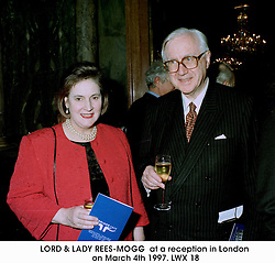 LORD & LADY REES-MOGG  at a reception in London on March 4th 1997.LWX 18