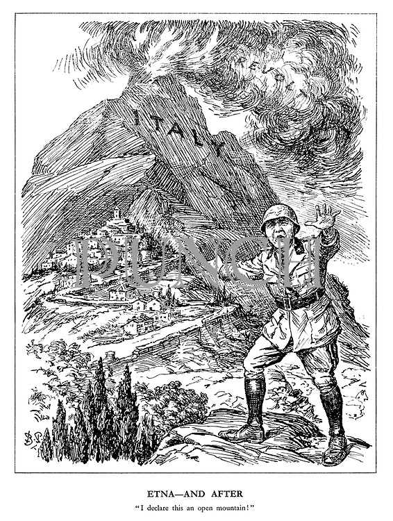"Etna - and After. ""I declare this an open mountain!"" (a fascist soldier surrenders Rome after the volcanic Italy erupts into Revolt)"
