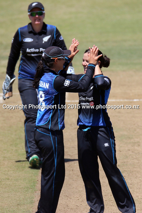 White Ferns celebrate when Heather Knight is caught and bowled by Erin Bermingham. New Zealand White Ferns v England - 3rd ODI at Bay Oval, Mount Maunganui, New Zealand. 15 February 2015. Photo credit: Margot Butcher/www.photosport.co.nz