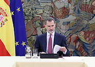 031820 King Felipe attends a meeting with Pedro Sanchez and Coronavirus Committee