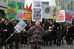 British fashion designer Vivienne Westwood marching with protesters in a demonstration against fracking in the UK. Activists reported a meeting with CEO's of IGas was cancelled in the Jumeirah Carlton Tower due to the demonstration, London, United Kingdom. Wednesday, 19th March 2014. Picture by Daniel Leal-Olivas / i-Images
