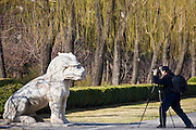 Man photographs statue of a resting Xiezi, a mythical Chinese Unicorn, Spirit Way, Ming Tombs, Beijing, China