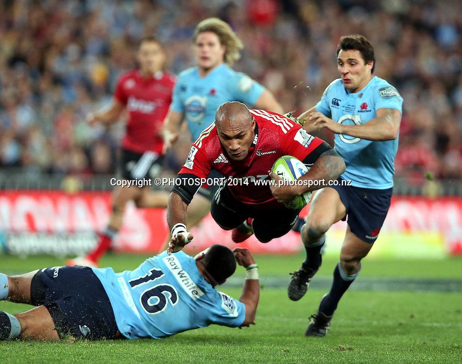 Nemani Nadolo tackled by Tolu Latu<br /> Super Rugby Final, Waratahs v Crusaders, Sydney, Australia. ANZ Stadium. Saturday 2 August 2014. Photo: Paul Seiser/PHOTOSPORT