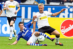 28.08.2011, Arena auf Schalke, Gelsenkirchen, GER, 1.FBL, Schalke 04 vs Borussia Mönchengladbach, im Bild.Julian Draxler (Schalke #31) gegen Mike Hanke (Mönchengladbach #19).// during the 1.FBL, Schalke 04 vs Borussia Mönchengladbach on 2011/08/28, Arena auf Schalke, Gelsenkirchen, Germany. EXPA Pictures © 2011, PhotoCredit: EXPA/ nph/  Mueller *** Local Caption ***       ****** out of GER / CRO  / BEL ******