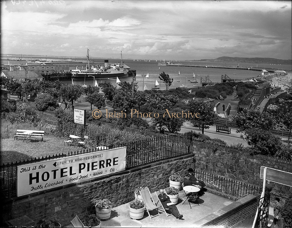 """26/07/1958<br /> 07/26/1958<br /> 26 July 1958<br /> View from Hotel Pierre in Dun Laoghaire of the bay, pier and ferry port. The ship is the """"Princess Maud"""" ferry boat."""