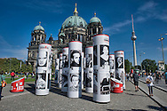 Berlin 14th September 2013 <br /> Exhibition of leading Berliners of Nazis persecution. The exhibition in Lustgarten Museum Island, is part of the 2013 Berlin Diversity Destroyed theme exhibition on the 80th anniversary of the Nazi accession to power to power in January 1933, with the dome of the cathedral in the background