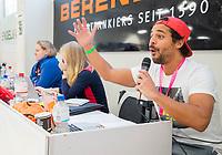 HAMBURG  (Ger) - Match 19,  for bronze , Der Club an der Alster (Ger) - Club Campo de Madrid (Esp) (7-0)  Photo: The speaker at the tournament table. Eurohockey Indoor  Club Cup 2019 Women . WORLDSPORTPICS COPYRIGHT  KOEN SUYK