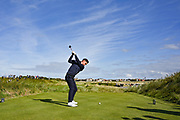 Conor Gough (GB&I) plays from the 12th tee during the Sunday Foursomes in the Walker Cup at the Royal Liverpool Golf Club, Sunday, Sept 8, 2019, in Hoylake, United Kingdom. (Steve Flynn/Image of Sport)
