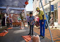 Berkshire Hathoway Verani Realty's mini golf course on Pump-Canal-ly during Pumpkin Fest Saturday afternoon.   (Karen Bobotas/for the Laconia Daily Sun)