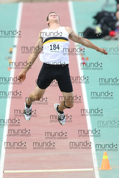 (Sherbrooke, Quebec---10 August 2008) Arthur Buchanan competing in the youth octathlon long jump at the 2008 Canadian National Youth and Royal Canadian Legion Track and Field Championships in Sherbrooke, Quebec. The photograph is copyright Sean Burges/Mundo Sport Images, 2008. More information can be found at www.msievents.com.