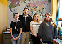"Madelyn Young, Mayor Ed Engler, Cali Andriski and Riley Clark-Patten during Whitney McCallum's 6th grade ""genius hour"" where the students presented possilbe solutions to city problems posed by Mayor Engler.  (Karen Bobotas/for the Laconia Daily Sun)"