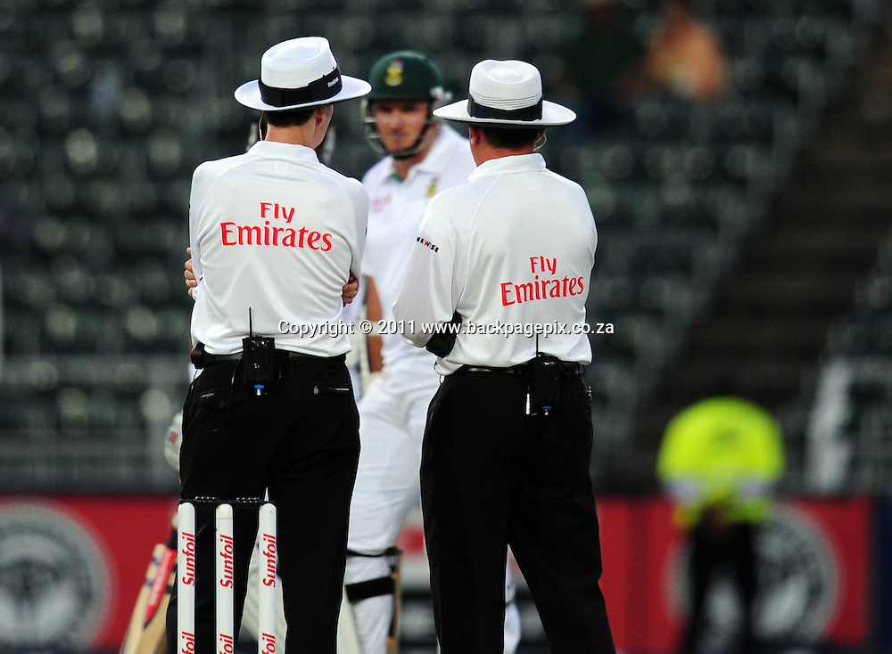 The umpires take a light reading as Grahame Smith of South Africa looks on <br /> &copy; Barry Aldworth/Backpagepix