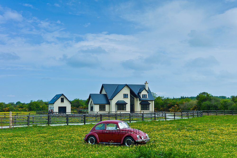 VW Beetle car for sale outside Irish home near Taghmon, Southern Ireland