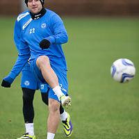 St Johnstone FC Training....28.01.14<br /> Lee Croft pictured in training ahead of Saturday's League Cup semi-final against Aberdeen.<br /> Picture by Graeme Hart.<br /> Copyright Perthshire Picture Agency<br /> Tel: 01738 623350  Mobile: 07990 594431