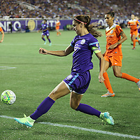 ORLANDO, FL - APRIL 23: Alex Morgan #13 of Orlando Pride saves the ball from going out of bounds during a NWSL soccer match against the Houston Dash at the Orlando Citrus Bowl on April 23, 2016 in Orlando, Florida. The Orlando Pride won the game 3-1.  (Photo by Alex Menendez/Getty Images) *** Local Caption *** Alex Morgan