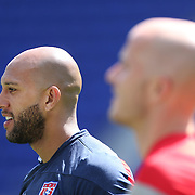 Tim Howard, (left) and Michael Bradley during the US Mens National Team training at Red Bull Arena in preparation for Sunday's game against Turkey as they prepare for the 2014 FIFA World Cup. Red Bull Arena, Harrison, New Jersey, USA. 30th May 2014. Photo Tim Clayton